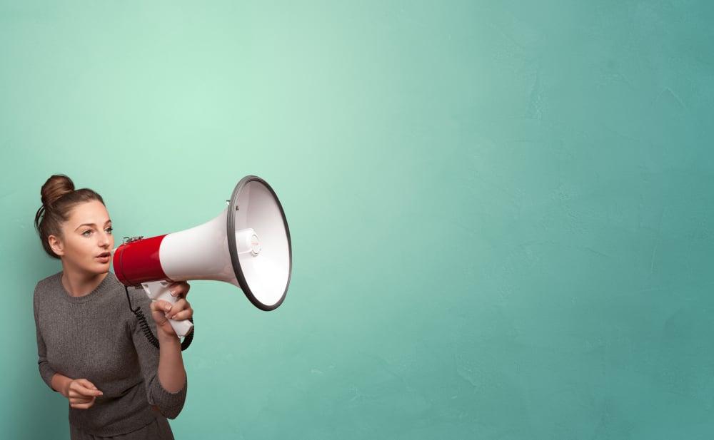 Person speaking in loudspeaker concept-1